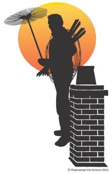 chimney sweep with chimney and sunset